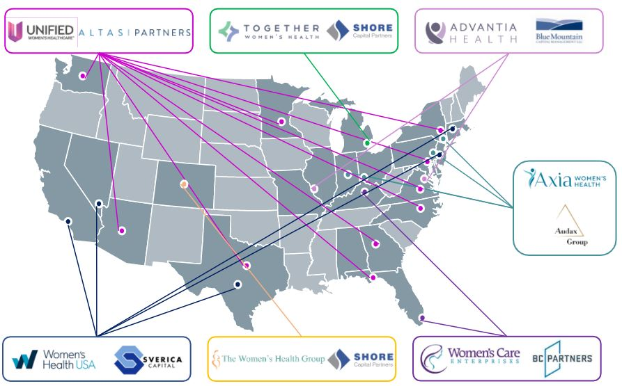 Map of Private Equity Transactions in Women's Health 2021